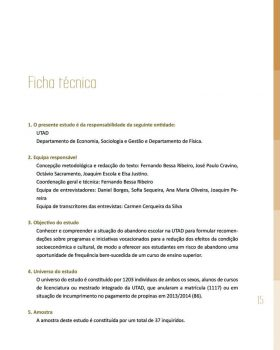 Abandono na Universidade de Trás os Montes e Alto Douro Estudo Exploratório 16